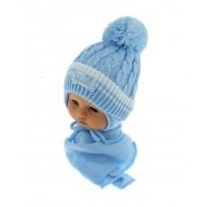 Czapeczka zimowa niemowlęca 42-46 niebieska